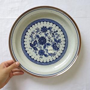 ボタニカルシリーズ プレート 大 1枚 デットストック 1970年代 ストーンウェア 検: 陶器 食器 皿 パスタ 洋食器 アンティーク ビンテージ