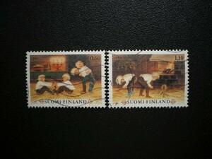 フィンランド共和国発行 子供の遊びなどクリスマス切手 2種完 NH 使用済