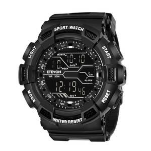 Etevon デジタル腕時計 Military メンズ スポーツ LEDバックライト 30m防水 ストップウォッチ アラーム Watche ブラック esd378B