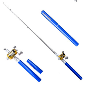 ペン型釣り竿 ポータブルポケットテレスコピックミニポールペン形状つ折りロッドリールホイール釣竿ペン k-114