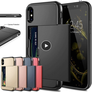ビジネス電話ケース iphone X XS最大XR ケーススライド鎧財布カードスロットホルダーカバー iphone k175