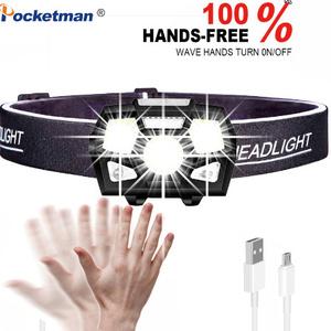 10000 ルーメン LED ヘッドランプモーションセンサー超高輝度ハード帽子ヘッドランプ強力なヘッドライト USB 充電式防水懐中電灯 k-305