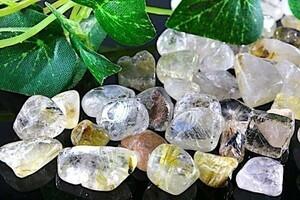 【送料無料】 200g さざれ 中サイズ ルチル & ガーデン クオーツ 水晶 パワーストーン 天然石 ブレスレット 浄化用 さざれ石 チップ ※1