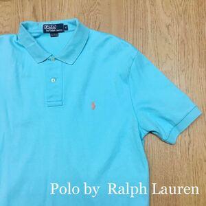 Polo by Ralph Lauren◆ポロ ラルフローレン // メンズ size M 水色系 半袖 ポロシャツ コットン トップス ロゴ刺繍 USA古着