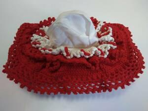 <ハンドメイド> ティッシュボックスカバー 赤・白の2色編み 綿100%サマーヤーン糸編み ※ティッシュは付いていません
