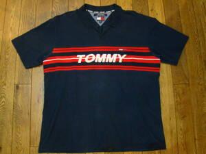 美品 90s TOMMY JEANS 半袖 ポロシャツ XL ネイビー トミージーンズ トミーヒルフィガー tommy hilfiger