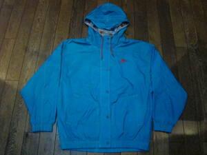 美品 90s NIKE ナイロン ジャケット フーディ L ブルー ロゴ 刺繍 ナイキ ジャージ フルジップ パーカー