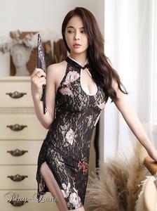 A414P チャイナドレス コスプレ セクシー ドレス キャバ ドレス セクシードレス 和服 コスプレ ボディコンドレス メッシュ 黒/ピンク