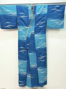 化繊の踊りの着物 単衣 青色と水色のぼかしに芝草の柄 ウコン色の伊達襟付き☆