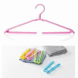 「bxj-a2」 携帯 折りたたみ ハンガー ズボン パンツ タオル 洗濯 旅行 キャンプ アウトドア コンパクトピンク