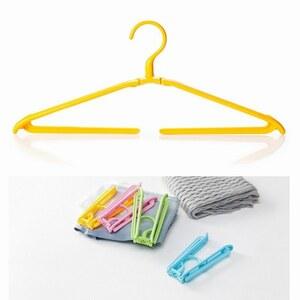 「bxg-a2」 携帯 折りたたみ ハンガー ズボン パンツ タオル 洗濯 旅行 キャンプ アウトドア コンパクトイエロー