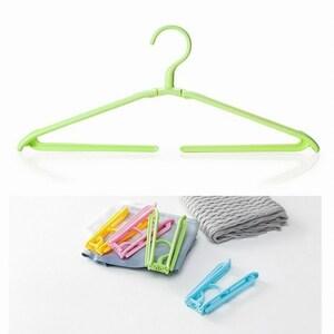 「bxh-a2」 携帯 折りたたみ ハンガー ズボン パンツ タオル 洗濯 旅行 キャンプ アウトドア コンパクトグリーン