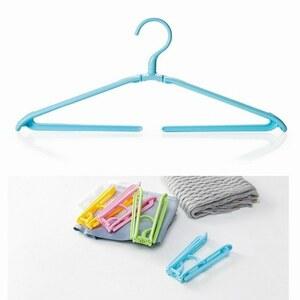 「bxi-a2」 携帯 折りたたみ ハンガー ズボン パンツ タオル 洗濯 旅行 キャンプ アウトドア コンパクトブルー