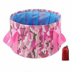 「bxo-a2」 携帯 折りたたみ バケツ 便利な 大きめ 15L 旅行 キャンプ 釣り 足湯 コンパクト 収納袋 ピンク迷彩