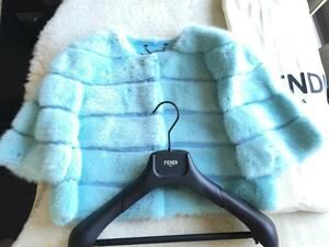 即決 新品同様 FENDI フェンディ 最高峰 ミンクファーコート☆40サイズ ブルー
