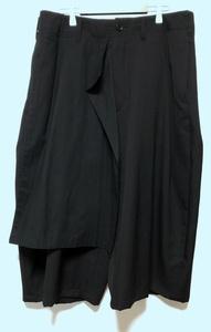 17SS YOHJI YAMAMOTO POUR HOMME ヨウジヤマモトプールオム ラップパンツ シワギャバ ウールギャバ ハーフパンツ H-右前垂らし布Pギャバ