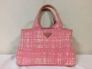 美品本物プラダPRADAカナパトートビジネスバックハンドバッグキャンバスピンク柄カラービッグ旅行トラベルレディース
