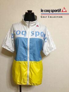 【良品】 le coq sportif GOLF COLLECTION ルコック ゴルフ レディース ウインド ジャケット トップス 防風 サイズL 半袖 デサントQGL6614