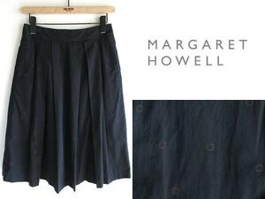状態良好 MARGARET HOWELL マーガレットハウエル 前タック/後ギャザー サークルドット コットンシルクスカート 1 ネイビー 日本製 MHL.