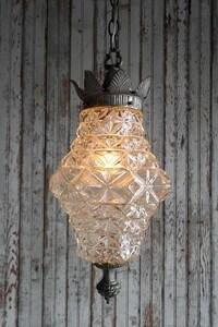 アンティーククリアガラス吊り下げランプ[alc-365]雑貨USA灯シェードビンテージコレクションライトガーリーシャビーペンダントハンギング