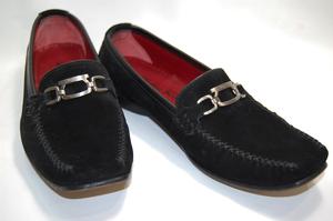 サルヴァトーレ フェラガモ スポーツ スエード モカシン パンプス 靴 サイズ5ハーフD (ブラック) レディスシューズ