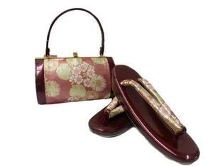 【即決】 お洒落 振袖用 振袖用 草履 バック セット 赤地 桜 柄No.3006