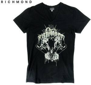 高級 イタリア製 RICHMOND リッチモンド 装飾 半袖カットソー Tシャツ S