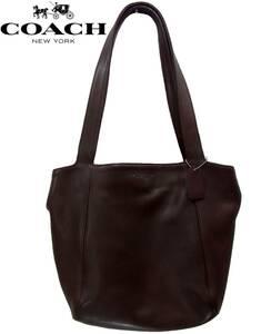 ヴィンテージCOACHソフトレザートートバッグ軽量ブラウン チョコレート色オールドコーチ肩掛けかばんドミニカ共和国製ショルダー手提げ鞄