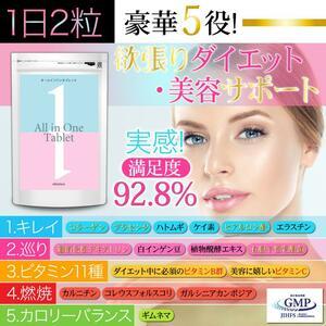 All-in-one tablet 完全栄養 美容 ダイエット 難消化性テキストリン サプリメント (30日分60粒入り)