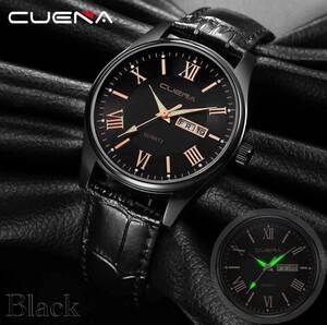 腕時計 時計 ギリシャ文字 アナログ メンズ クォーツ レザー 革 カレンダー 曜日 日付 オシャレ ブランド ウォッチ ブラック 21