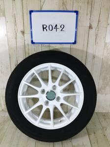 R042 タイヤホイール 1本 ECOFORME 4H/PCD100 155/65R14 4.5J Offset +45 ラジアルタイヤ DUNLOP ENASAVE