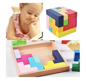 新品 送料無料 木製 知育玩具 形合わせ パズル 立体 3D テトリス ブロック 木片ピース 積み木 おもちゃ 集中力・想像力up 幼児 子供 遊び