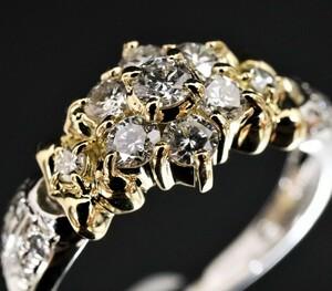 Pt900 K18 天然ダイヤモンド0.57ct フラワーモチーフ リング 指輪 プラチナ K18YG 新品仕上■2593-9★