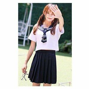 セーラー服 半袖 白+ネイビー コスプレ コスチューム 制服 学生服 女子高生