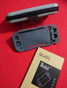【新品】Nintendo Switch Lite専用★(グレー)ケース+シリコン カバー+液晶保護 強化ガラスフィルム★任天堂 スイッチ ライト・即決