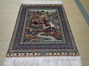 即決 美品 トルコ ヘレケ シルク ペルシャ絨毯 カーペット マット ラグ イラン 絨毯 アンティーク 家具 北欧 ギャッベ クム
