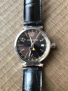 LOUIS VUITTON ルイ・ヴィトン TAMBOUR GMT タンブール オートマチック Q1131 ブラウンダイヤル 自動巻き デイト メンズ 腕時計