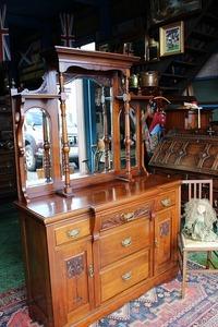 イギリスアンティーク家具 サイドボード ミラーバック/サイドボード キャビネット ミラー 英国家具 鏡 英国製 h17