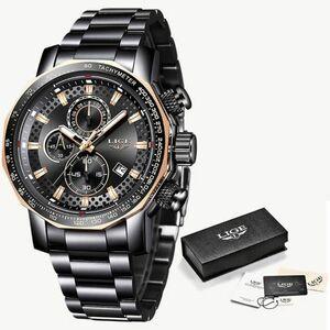 【送料無料】ブラック レロジオ新スポーツクロノグラフメンズ腕時計トップブランドの高級フル鋼クォーツ時計防水ビッグダイヤル腕時計男性