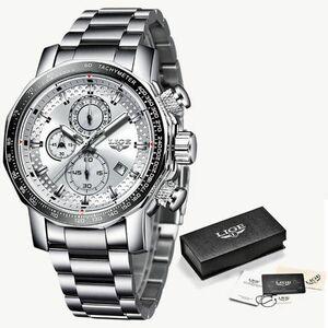 【送料無料】ホワイト レロジオ 新スポーツクロノグラフ メンズ腕時計トップブランドの高級フル鋼クォーツ時計防水ビッグダイヤル腕時計