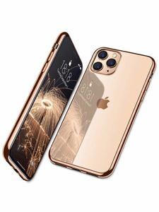 iPhone 11 Pro ケース TPU ソフト 超薄型 超軽量 背面クリア+周りメッキ加工 黄変防止 ピンクゴールド