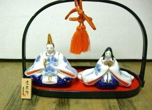 (8)陶器☆染錦手籠付雛☆ひなまつり☆お節句☆お雛様