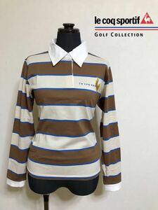 le coq sportif GOLF COLLECTION ルコック ゴルフ レディース ボーダー ラガーシャツ ウェア トップス サイズM 長袖 QGL1035