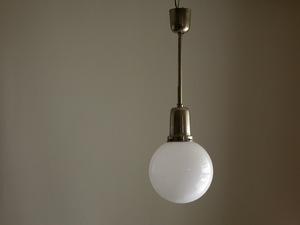 . white glass brass pendant lighting φ25cm /1930 period doi Tour ru deco Vintage lamp