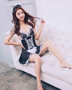 セクシーコスプレ メイド エプロンドレス 髪飾り エレガント 可愛い 黒