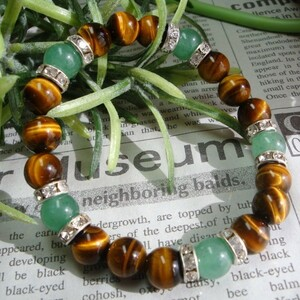 ◆ Natural stone Power Stone ◆ Tiger Eye & Aventurin [Work lucky fortune household goods percent stress relief] Silver Londel Bracelet inner circumference 15
