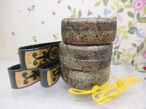 (送料無料)31.000円 沖縄三線専用蛇皮強化(二重張)型チーガ三個セット 胴巻き付