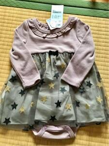 新品★バースデイ★しまむら★ベビー ロンパース キラキラ 星 スカート.80