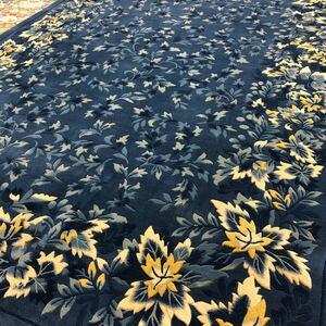 ウール段通マット 草木染め手織り ネイビー系 120段 約165cm×240cm