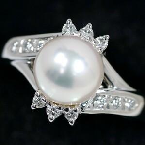 POLA Pala Akoya Pearl 8 mm Diamond 0.14ct PT900 Ring